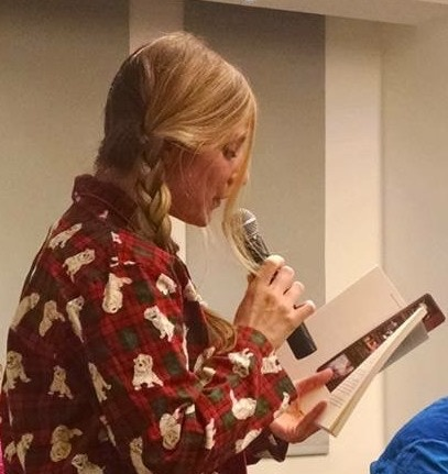 Jeanne reading at a book conference--yes, it was a pajama party...