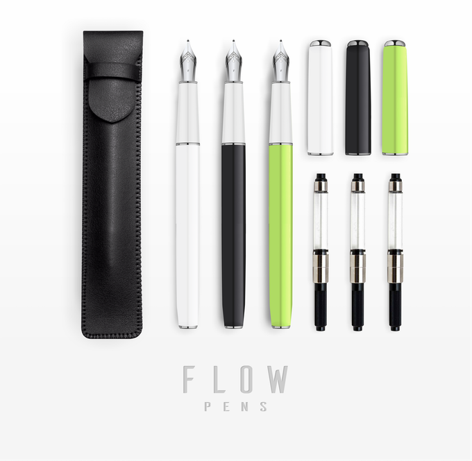 Flow : Minimal, Sleek Fountain Pen w/ Case