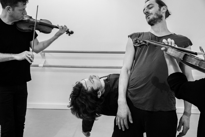 The strings from String Noise's violins. Photograph by Mark Davis.