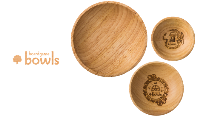 Wooden designer bowls in three sizes, custom made to make your gaming experience better.