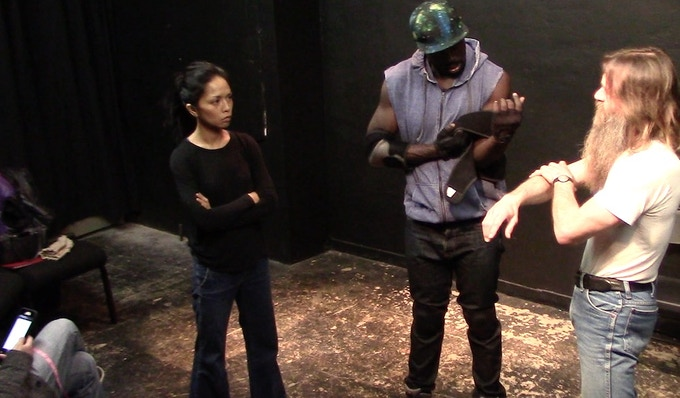 The cast training with fight choreographer Ronnie Clark.