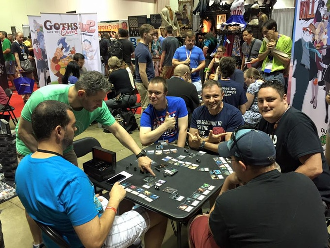 Our busy booth at Gen Con (Indianapolis) last year (Demoing Open Deck).