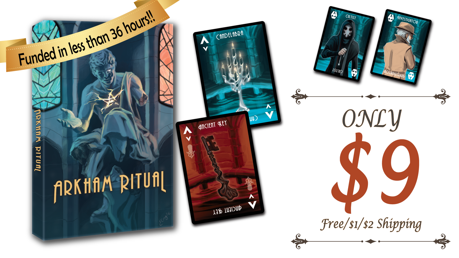 Deception, deduction, and push your luck card game for 3 to 7 players. Keep your sanity and escape from the horrific ritual alive!