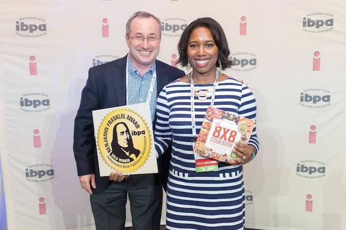 I was proud to accept a Gold Award from the Independent Book Publishers Association (IBPA) for The 8x8 Cookbook in 2016 alongside my ever-supportive husband, Mike.