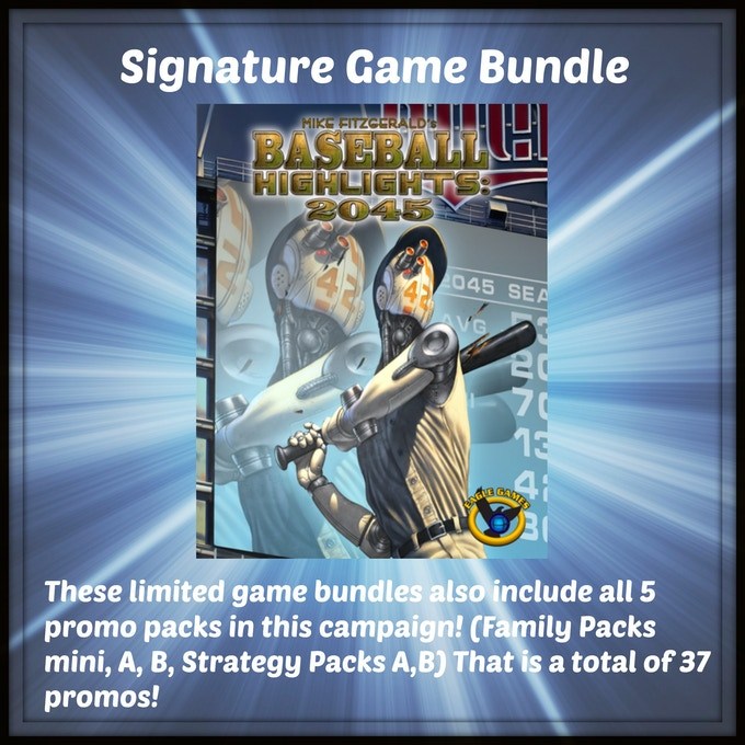 One signed copy of the Super Deluxe version of Baseball Highlights 2045 (which includes all 7 expansions) from Eagle Gryphon Games by Mike Fitzgerald!