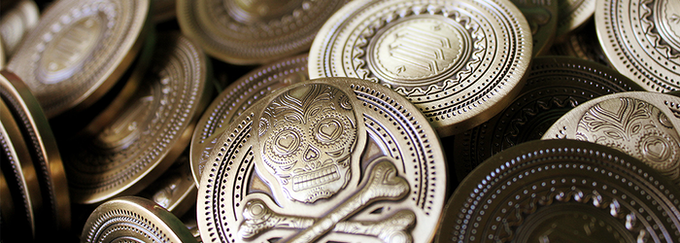 Example of coins from the Muertos Campaign