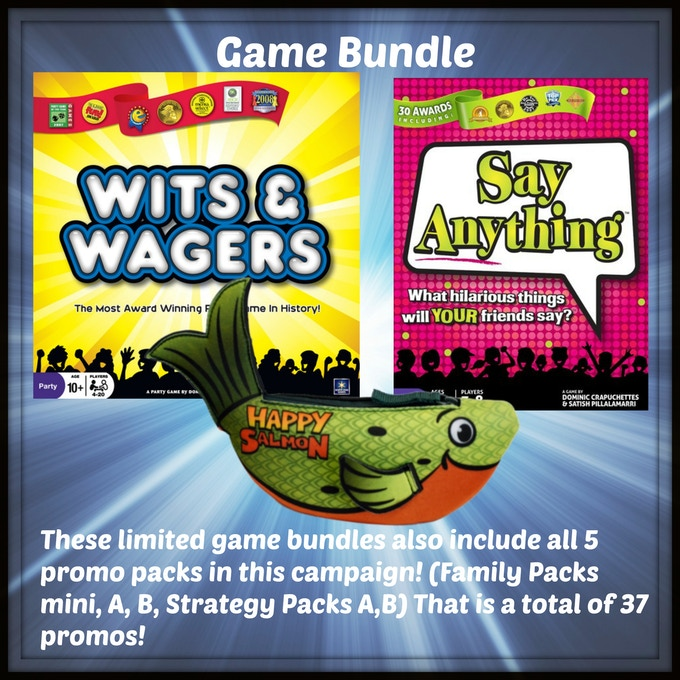 One copy of Wits & Wagers, Say Anything, & Happy Salmon from North Star Games!