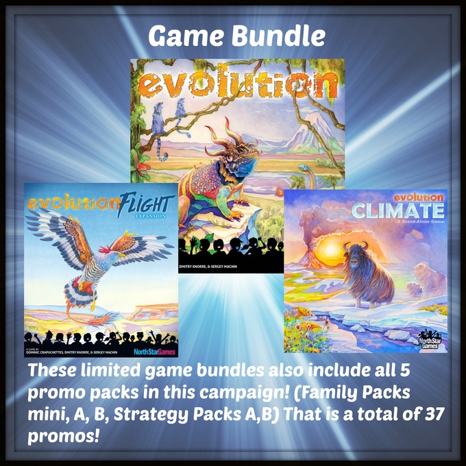 An Evolution bundle which includes one Copy of Evolution (base game), Climate (expansion), & Flight (Expansion) from North Star Games