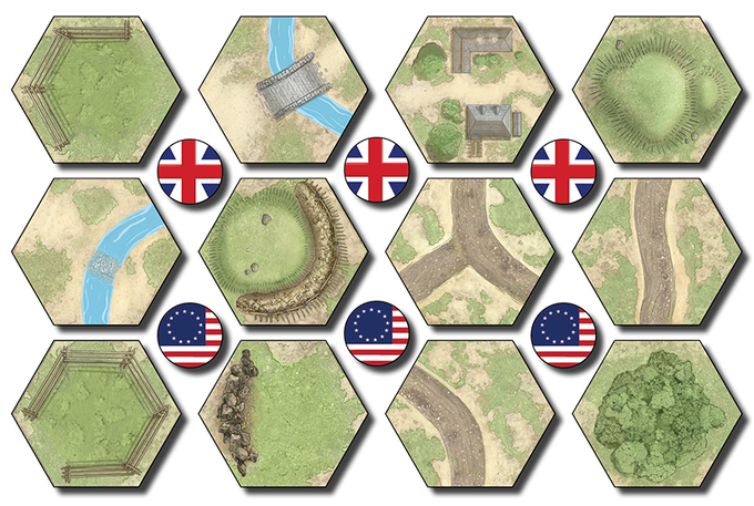 Examples of some of the Terrain Tiles that come with the game - there are 5 Terrain Tile punchboards yielding 75 tiles of thick board