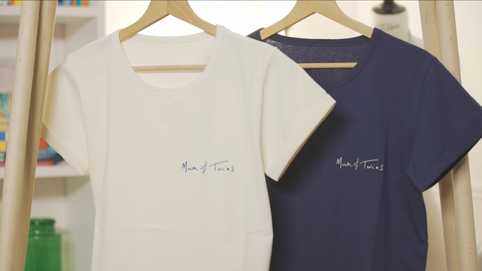 Mum of Twins t-shirts -  handwritten by our very own Mum.