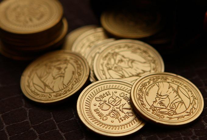 golden plastic coins