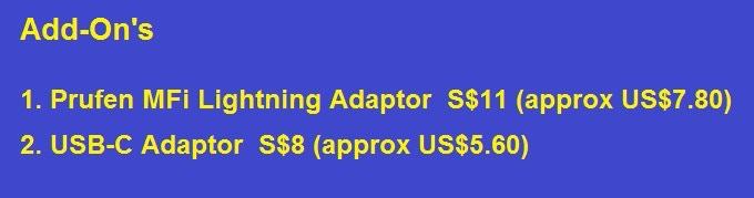 Optional MFi Lightning and USB-C adaptor