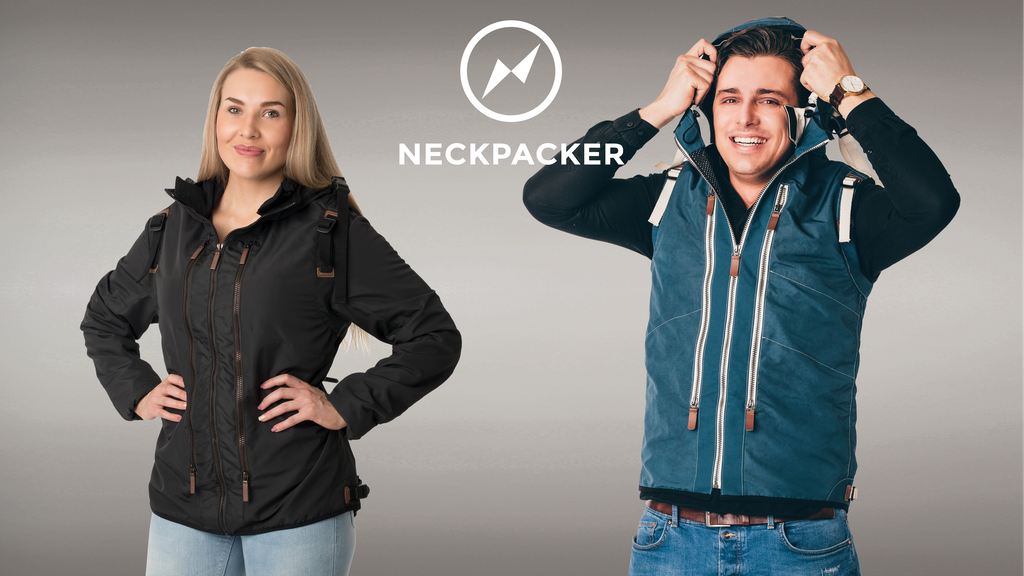Neckpacker - travel jacket with patented built-in pillow project video thumbnail