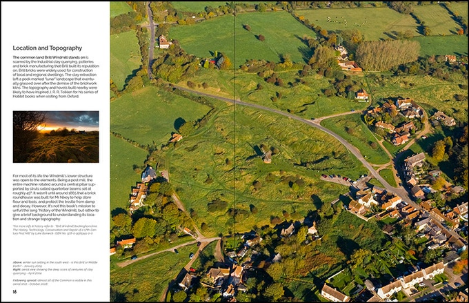Aerial view of the common land and village surrounding the Windmill