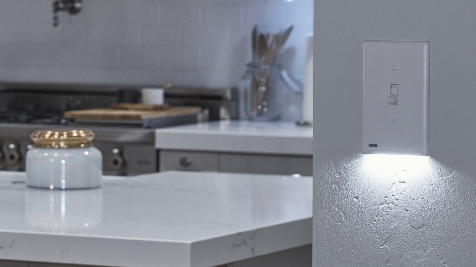 The SnapPower SwitchLight is a light switch cover that doubles as a night light.  It installs in seconds with no wiring needed!