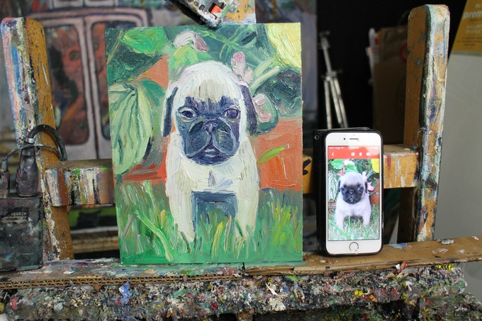 I am painting dogs and people too!