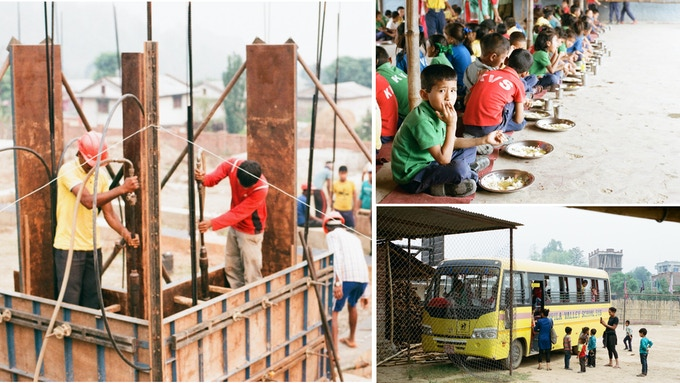 Left: Construction at the future Kopila site // Right: Kids at the current Kopila School.