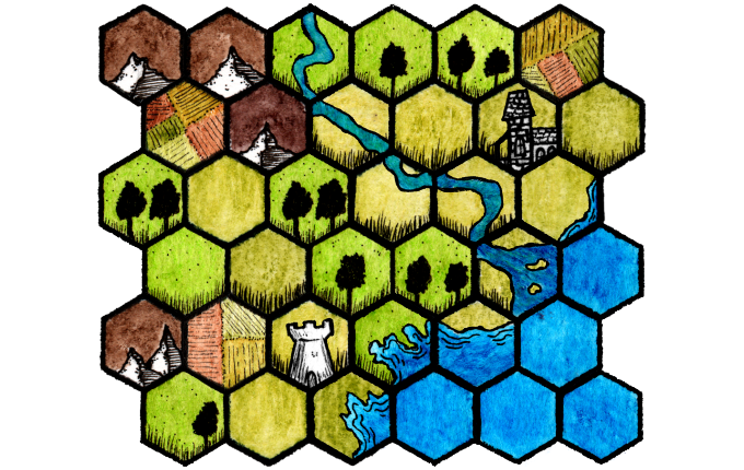 fantasy map made in hex kit!