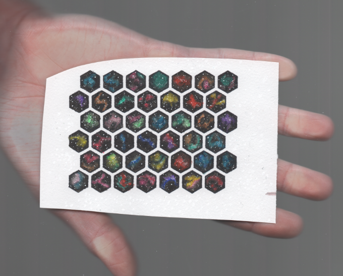 hand-painted nebulae hex tiles, mid scan