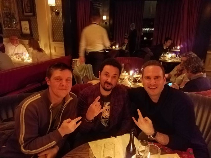 Simeon Aston (centre) with Mozchops (Left) and Heavy Metal CEO Jeff Krelitz