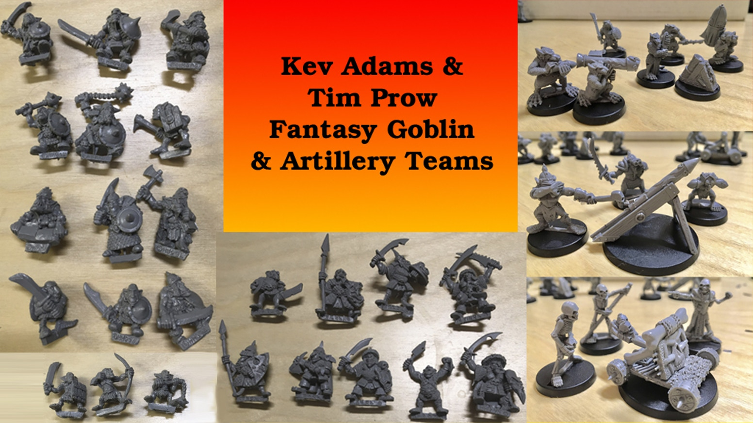 Bringing back full sets of old school  Kev Adams & Tim Prow Goblin and Artillery miniatures from the Heartbreaker miniatures line.