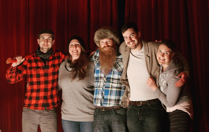 The Cariboo & Whiskey Team in The Theatre Royal, Barkerville, BC.