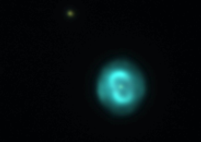 Cropped up close -- the Blue Snowball Nebula imaged through the Great Lick Refractor using our Canon 6D DSLR camera