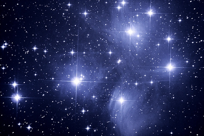 "The Pleiades Star Cluster -- Imaged through our 8"" Newtonian telescope"