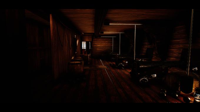 (In-Engine screenshot) The Gun Deck on a Level 3 frigate