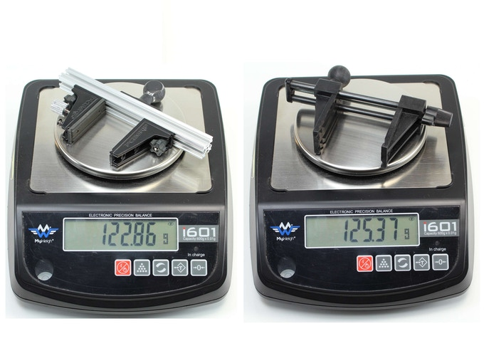 PCBGRIP Vise and PanaVise® Model 201 Vise Head weigh approximately the same.  Cast aluminum FlatBall used in this comparison.