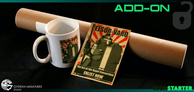 The Enlist propaganda items are now available for you as an add-on to your pledge. Just increase your pledge to allow for the amount to cover the item.