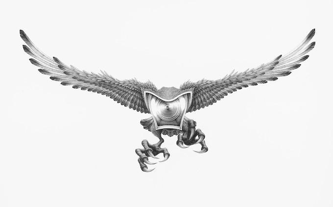 Eagle, pen on paper, 140x76 cm