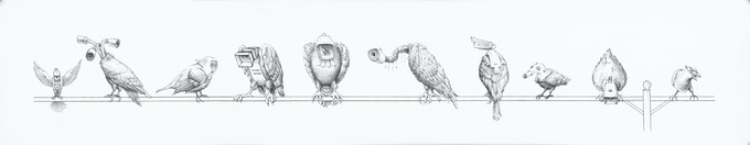 Gallery, pencil on paper, 140x35 cm