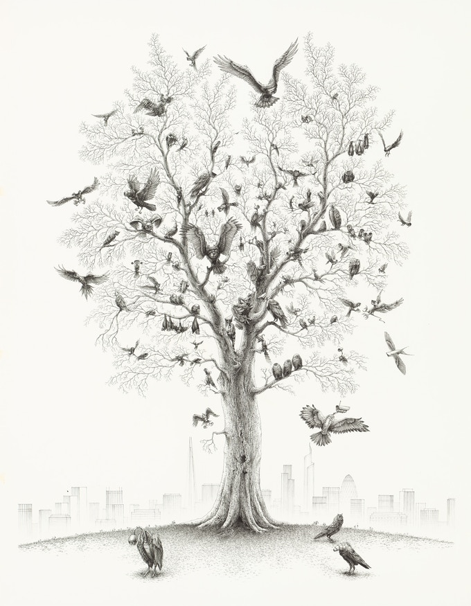 Tree, pen on paper, 160x120 cm