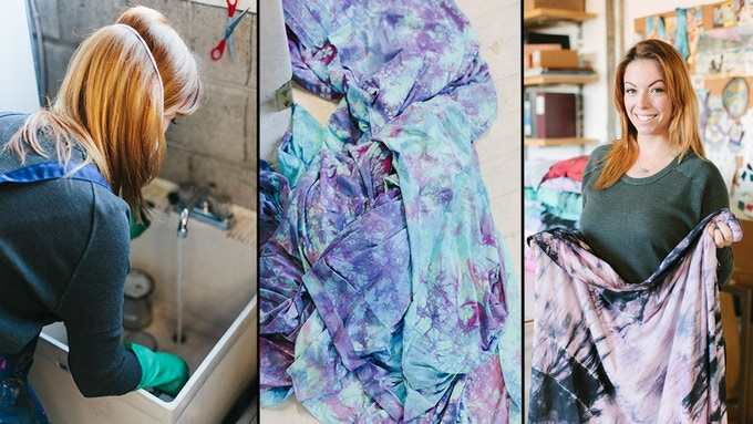 Creative Director/Owner, Lexi Soukoreff, mixing dyes in her Vancouver studio and showing the final hand-dyed pieces used for inspiration for DAUB | ACTIVE