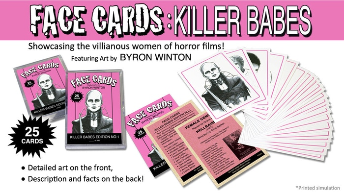 25 Trading Card Set. Artistic renditions of the women in horror films.