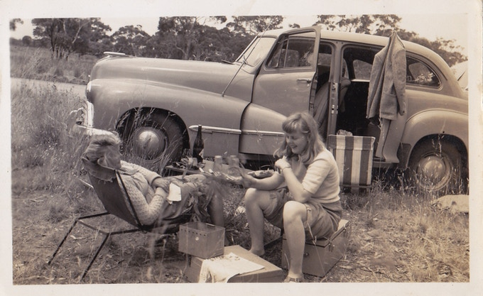 My grandma and her sister picnicking