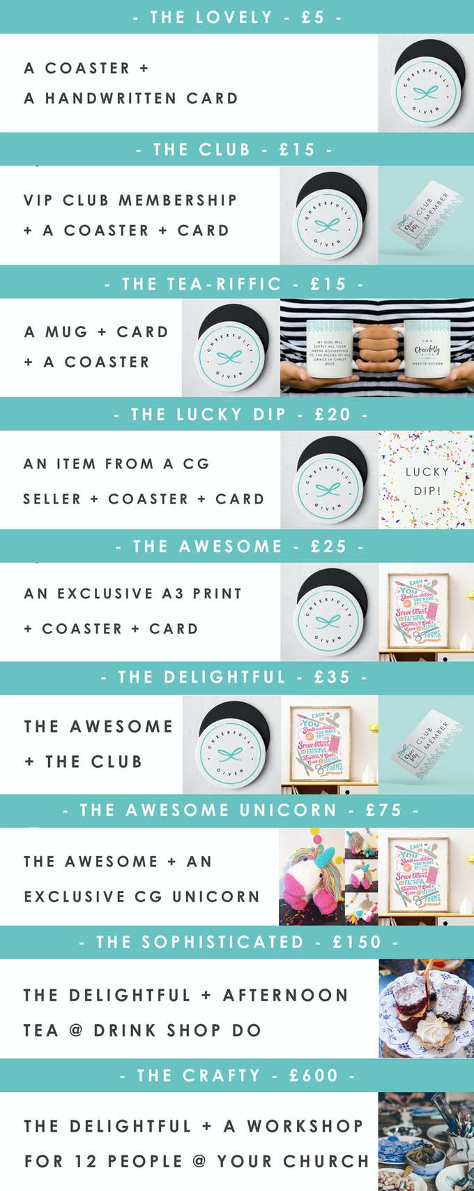 A selection of our rewards.