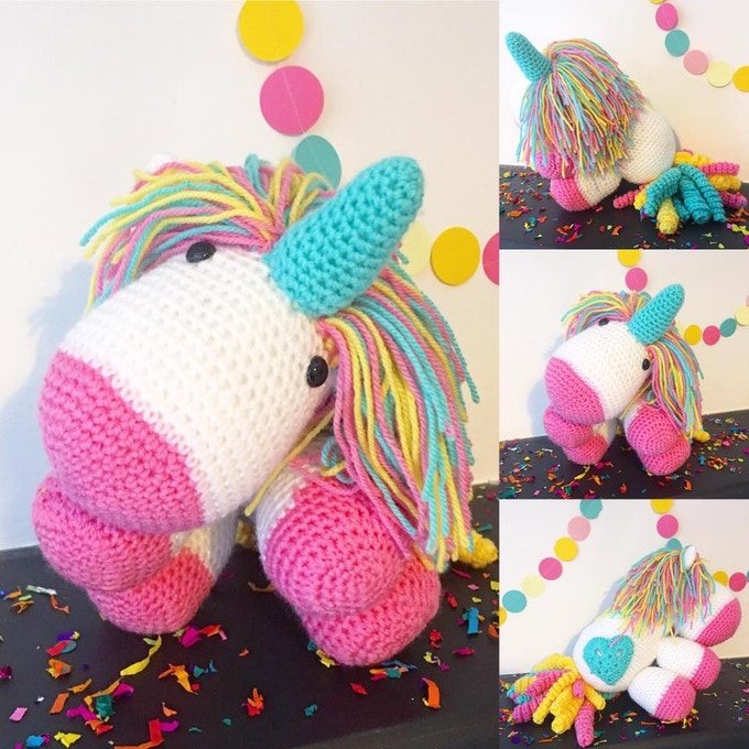 The Cheerfully Given Unicorn, available in The Unicorn and The Awesome Unicorn, or get your own colours made up with The Custom Unicorn.