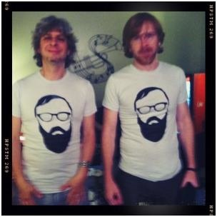 Mike Gordon and Trey Anastasio of Phish sporting the David Mayfield T-shirts they purchased at a show in Charlotte North Carolina 2011