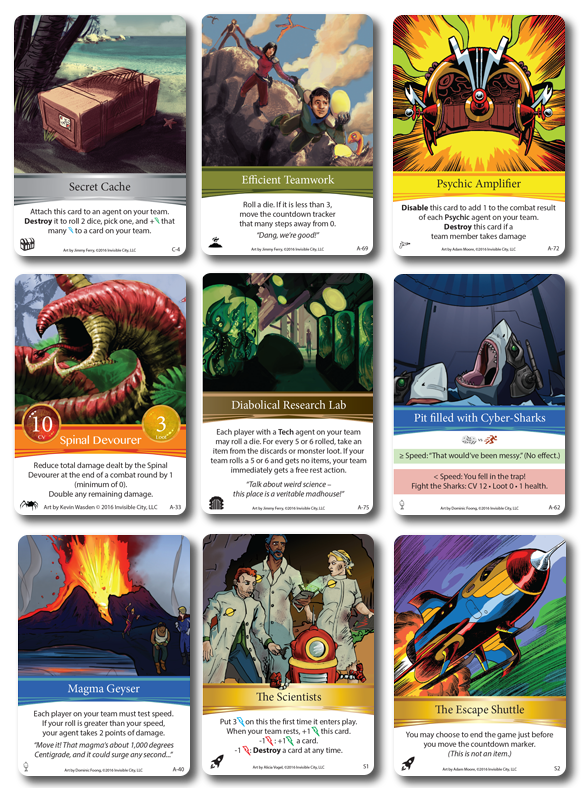 One of each adventure card type + the two special cards - The Scientists and The Escape Shuttle.