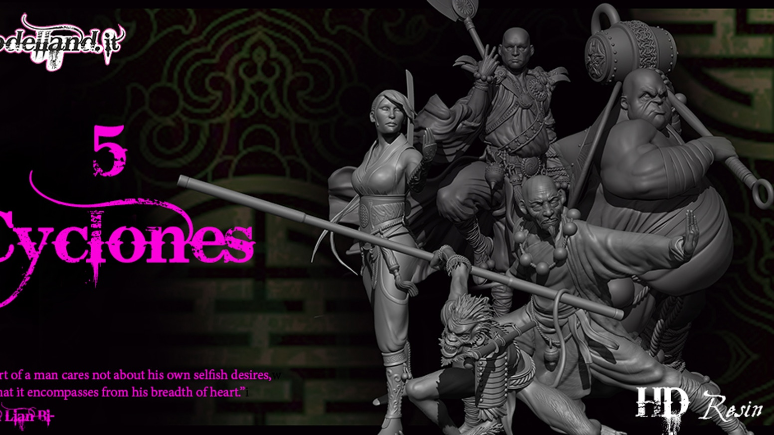 Join 'The Five Cyclones': 75mm  highly detailed resin miniatures for collectors and gamers to assemble and paint!
