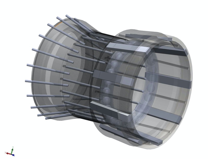 X-Ray of External Gear showing the reinforcement from carbon fiber and steel