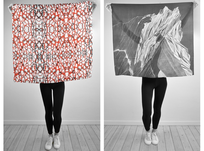 100% Silk scarves /// digitally printed and sourced in the UK /// Illustrations by Aurélie Carnoy and Valeria Pigozzi