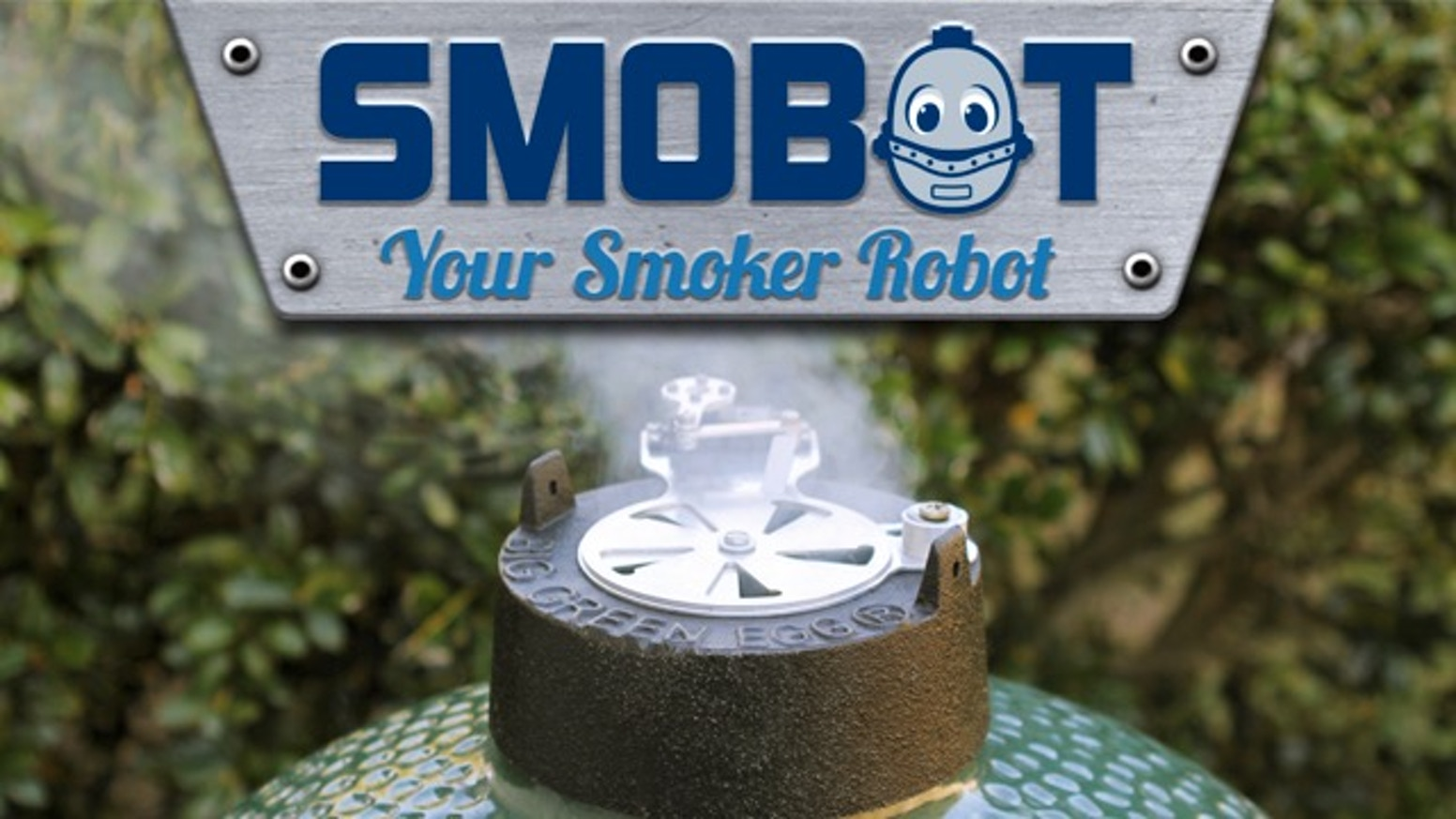 Your Smoker Robot, a WiFi enabled robotic temperature controller that attaches to the top vent of most Kamado style grills and smokers.
