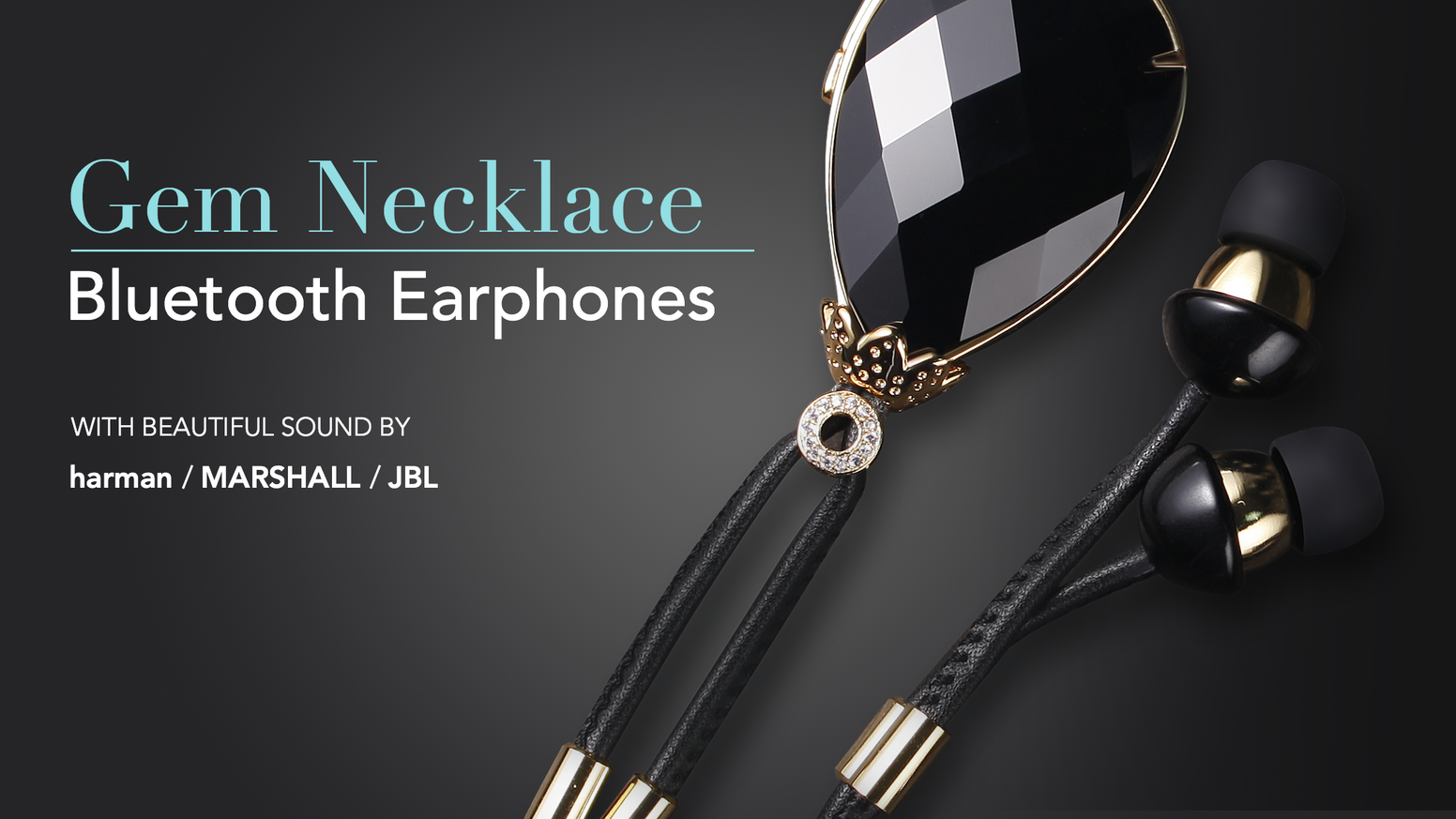 HiNICE+ is a unique gem necklace with Bluetooth Earphones. Audiophile Hi-Fi Sound. Various Valuable Gems. 24K Gold Plating. For you.
