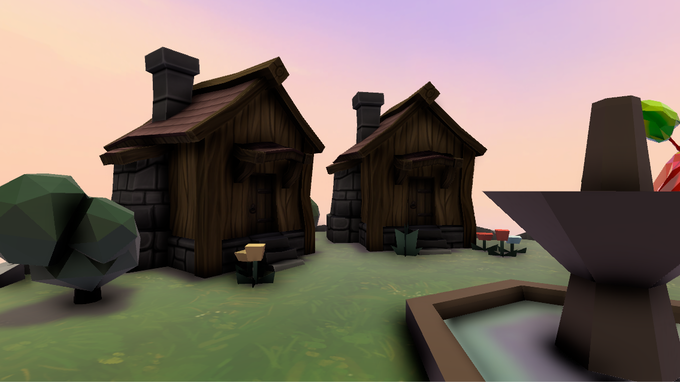 Wooden houses on a flying island