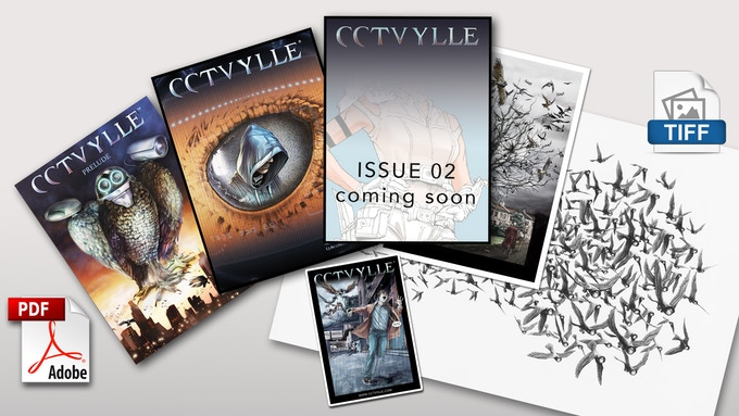 3 Comics issues in PDF plus sticker, high res art work and A4 page print