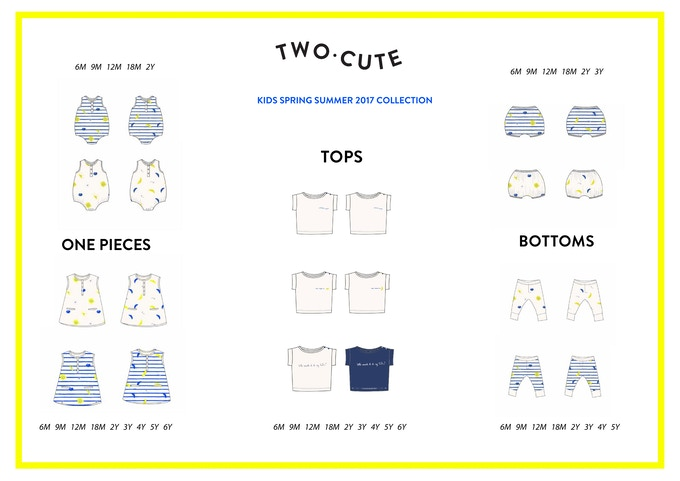 Twocute Kids SS17 Sizing (from 6 months to 6 years)