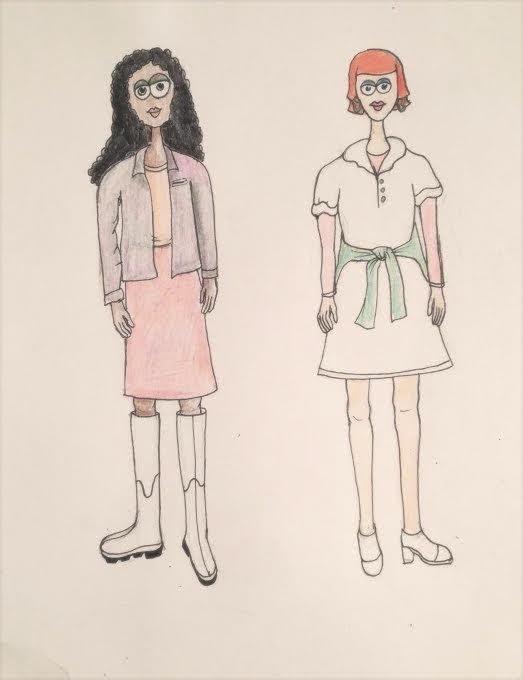 Her preliminary sketch of future fashion
